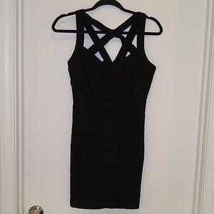Naked zebra black body con mini dress